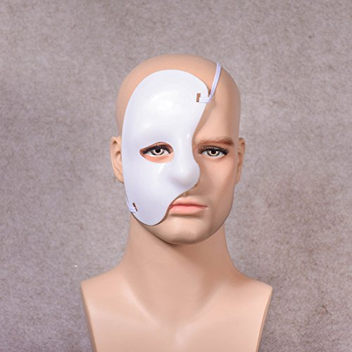 Tuscom Masquerade Half Face Mask,for Halloween Cutout Prom Party Mask Accessories Carnival Decorations (7 Style) (White) ()