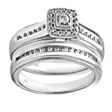 Sterling Silver 1/4cttw Diamond Engagement and Wedding Ring Set
