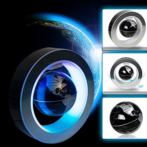 Amazing Gravity Anti Top (Zinnor 4 Inch Magnetic Levitation Floating World Map Globe C Shape Office Decor LED Learning Educational Geographic Globes Fun Desktop Stand Home School Desk Decoration Gift)