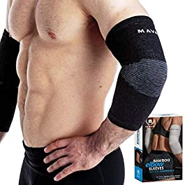 Mava Sports Bamboo Elbow Brace Compression Support Sleeve for Tendonitis, Tennis, Golf Elbow Treatment – Reduce Elbow…