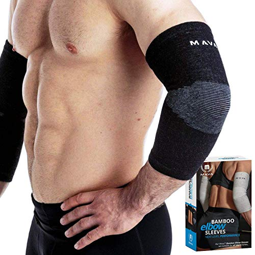 Mava Sports Elbow Sleeve Recovery Compression, Size L - Support for Workouts, Weightlifting, Arthritis, Tendonitis, Tennis and Golfer's Elbow - Bamboo Charcoal Athletic Elbow Compression Sleeves