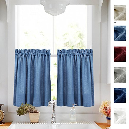 24 inches Kitchen Tier Curtains Windows Closet Casual Weave Bathroom Short Curtain Panels Semi Sheer Privacy Half Window Curtain Drapes Blue, 1 Pair (Curtains Short Window)