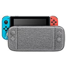 MoKo Portable Case for Nintendo Switch, Ultra Slim Travel Carrying Case Storage Bag Hard Protective Shell Cover Box with 10 Game Cartridge Holder for Nintendo Switch Console - Grey