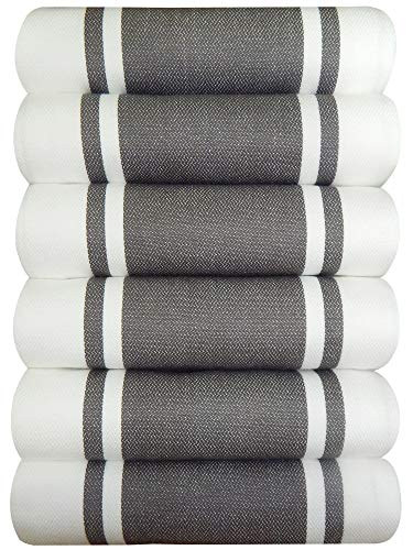 Tiny Break Dish Kitchen Towels Vintage Striped 100% Cotton Tea Towel 20 x 28 inch Set of 6, Grey