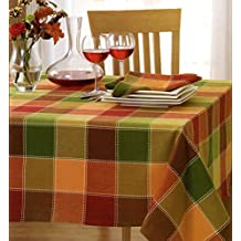 """HomeCrate Fall Harvest Autumn Check Collection Woven Tablecloth 60"""" X 120"""" Green"""