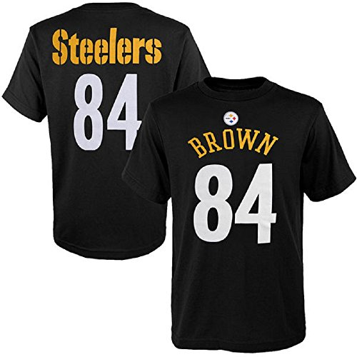 Outerstuff Antonio Brown Pittsburgh Steelers #84 NFL Youth Mainliner Name & Number T-Shirt (Youth Xlarge 18/20)
