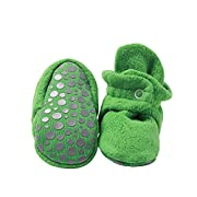 Zutano Cozie Fleece Baby Booties with Grippers 12M (6-12 Months), Heather Gray