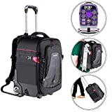 Neewer 2-in-1 Rolling Camera Backpack Trolley Case-Anti-Shock Detachable Padded Compartment, Hidden Pull Bar,Durable,Waterproof for Camera,Tripod,Flash Light,Lens,Laptop (Purple Interior)