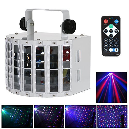 Lixada 24W DJ Lights 8 Colors LED Wide Beam Laser Strobe Light 6 channel Led DMX lighting with IR remote control metal casing Club Light home KTV disco stage effect Lighting