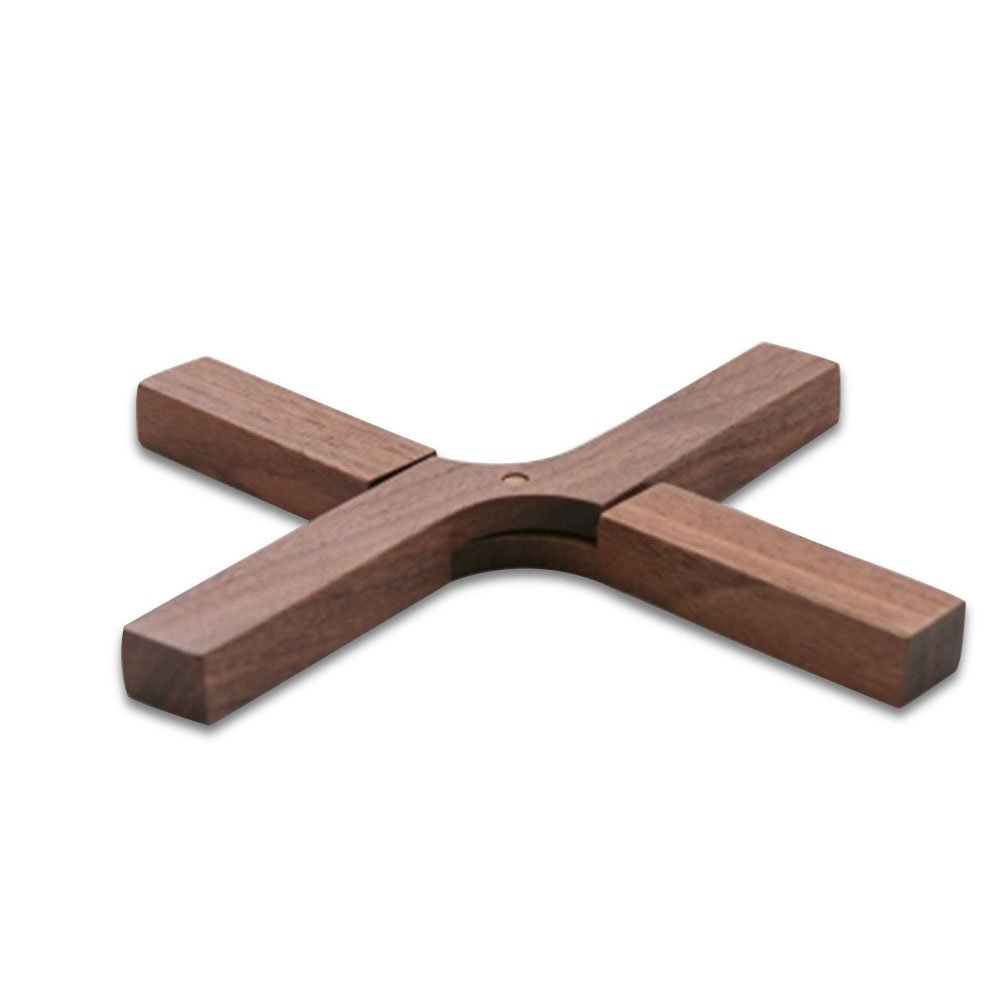 HaloVa Trivet Mat, Creative Wooden Hot Pads, Skidproof Household Pot Holder Insulation Mat for Home Use (Walnut) by HaloVa (Image #1)