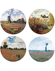 Art Painting Coasters Set with Monet Flowers coupons 2017