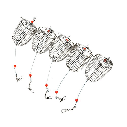 5pcs Fishing Cage Stainless Steel Spring Lid Fishing Trap Bait Cage With Swivels and Clips(L)