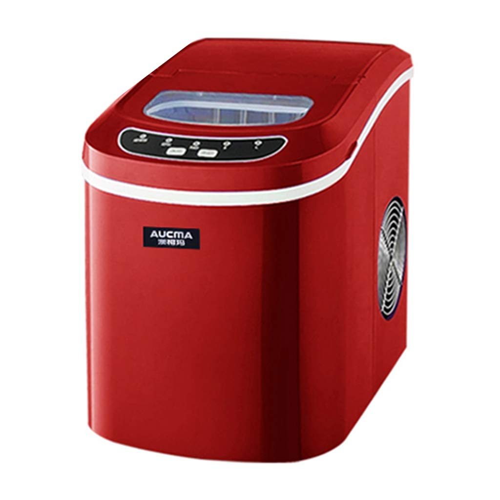 WHJ@ Ice Maker Machine for Your Home Ice Machine Home Small Commercial Tea Shop 15kg Mini Round Ice Table Desktop Fast Ice Red