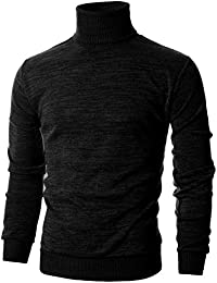Mens Slim Fit Long Sleeve Turtleneck Mixed Ribbed Hem Pullover Sweater