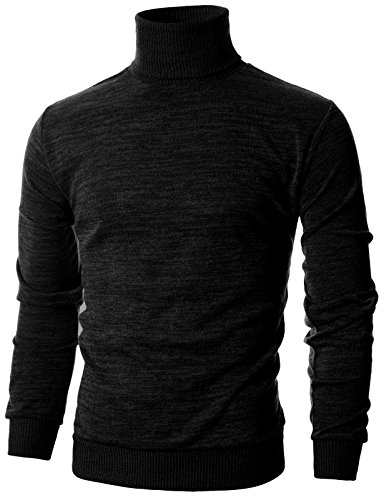 - Ohoo Mens Slim Fit Long Sleeve Turtleneck Mixed Ribbed Hem Pullover Sweater/DCP024-BLACK-L