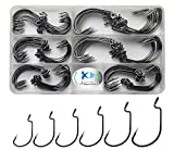 JSHANMEI Worm Hooks Fishing High Carbon Steel Wide Gap Saltwater Freshwater Strong Senko Bait Jig Fish Hook for Bass Trout with Box Packed #1-5/0