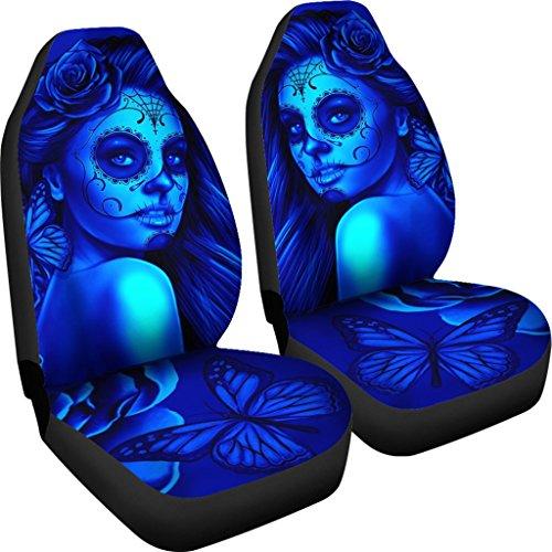 DealioHound Calavera (Day of The Dead/Dia De Los Muertos) Halloween Design #2 (Blue) Microfiber Car Seat Covers/Protectors - Universal Fit (Set of 2) ()