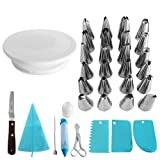 baker supplies - Cake Decorating Supplies: Cake Decorating Kit - Ultimate Set Includes 24 Stainless Icing Tips, Cake Turntable, Icing Spatula, Pastry Bags, Cake Brush, Cake Cutter, Cake Pen, 3 Cake Scrapers