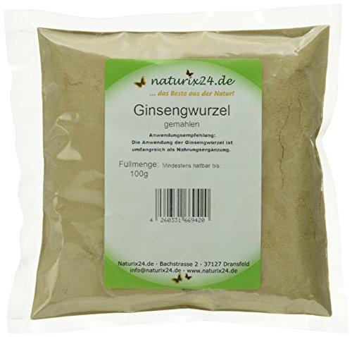 Naturix24 Ginseng Pulver, Ginsengwurzel weiß gemahlen - Beutel, 1er Pack (1 x 100 g)