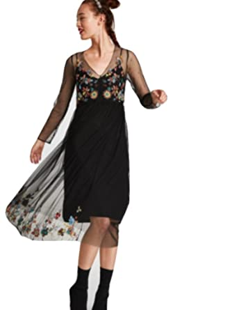f42b12c4e4b3f Zara Embroidered Lace Dress BNWT M Black at Amazon Women's Clothing store: