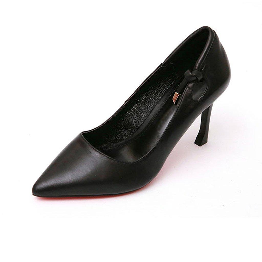 JIANXIN Frauen Dünne Ferse Und Flachen Und Mund Und Flachen Spitzen Fersen Frühjahr Ausgehöhlten Sexy Leder Einzelnen Schuhen. (Farbe : Schwarz, größe : 36) - 7dd251