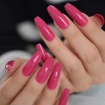 Amazon Com Coolnail 24pcs Set Dark Rose Pink Press On False Nails Extra Long Coffin Ballerina Shape Uv Gel Glue On Fingersnails Free Adhesive Tapes Beauty
