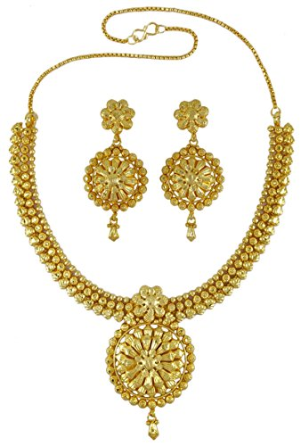 Banithani Ethnic Indian Traditional 18k Gold Plated 2 PC Necklace Set Designer (22k Gold Necklace Set)