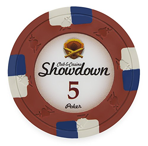 Pack of 50 Showdown Poker Chips, Heavyweight 13.5-gram Clay Composite by Claysmith Gaming ($5 Red)