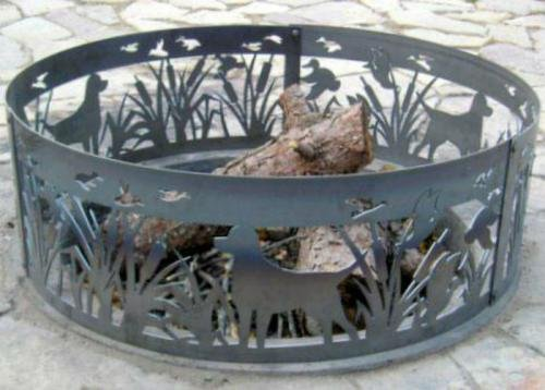 Solid Steel Outdoor Fire Ring - Lab N' Ducks (48 in. Dia.) by P&D Metal Works
