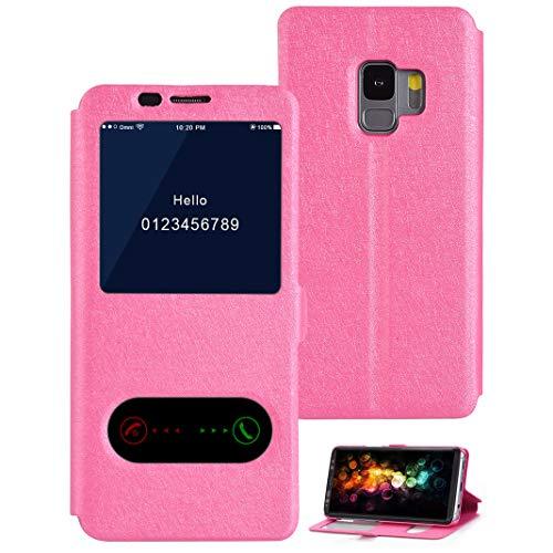Ultra PU avec Cas d'ouverture Antichoc Slim pour Galaxy Support Galaxy rose Housse Rabat Coque Cuir Magnétique avec Rouge S9 Fenêtres pour 2 S9 et Etui à Solide Samsung Fonction Fermeture Fenêtres ZtXwHPHqx
