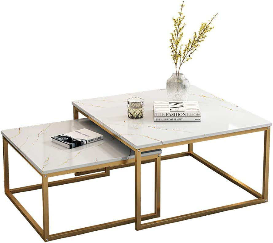 Amazon Com Fghju Coffee Tables Piece Set Square Modern Tea Table Smooth Marble Pattern 2 Piece Set Oversized Storage Tables Suitable For Living Room Bedroom Office Gold 32in Home Kitchen