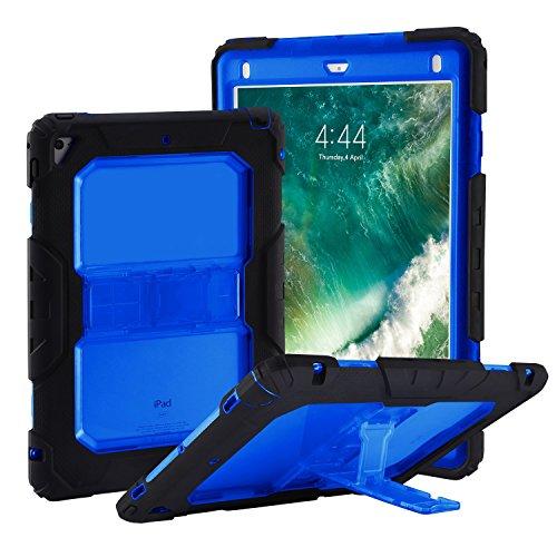Translucent Blue Silicone Skin Case - NQG New iPad 2018 9.7 Case, New iPad 2017 9.7 Case, Shockproof Defender Three Layer Kickstand Translucent Back Tablet Case Cover with Adjustable Shoulder Strap, Also for iPad Air 2 / iPad Pro 9.7 inch