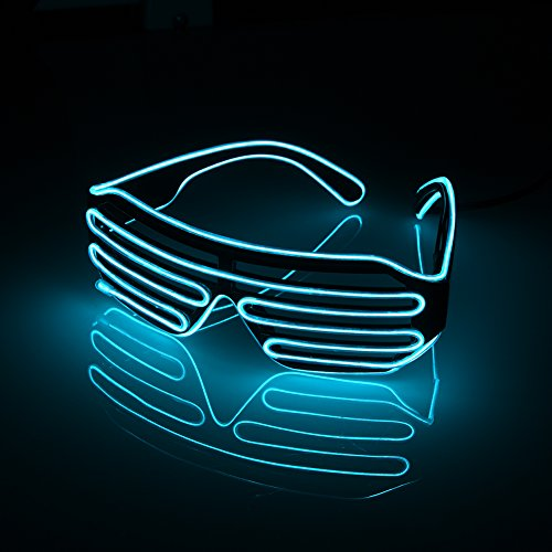 EL Wire Neon LED Glasses Shutter Shades for Bar Party Fluorescent Dance DJ Bright Glasses Fashion Light Glow Rave Costume Atmosphere Activing Props