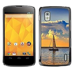 Paccase / SLIM PC / Aliminium Casa Carcasa Funda Case Cover - Nature Lonely Boat - LG Google Nexus 4 E960