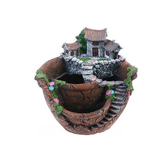 BESTOYARD Flower Plants Pot Creative Plants Pot Mini Fairy Garden and Sweet House for Decoration