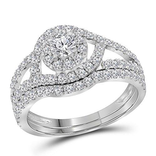 14kt White Gold Womens Round Diamond Split-shank Halo Bridal Wedding Engagement Ring Band Set 1-1/4 - Setting Split Shank