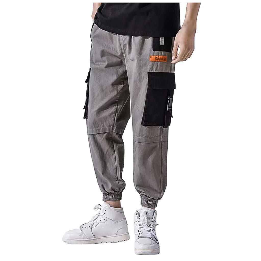 Food-give Mens Pants Fashion Men's Color Block Multi-Pockets Closed-Bottom Tooling Pant Casual Loose Trousers (XXXL, Gray)