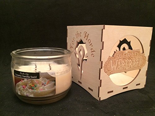 World of Warcraft Candle Holder-for the Horde Engraved Candle Holder-unfinished Wood Box-wow Gift-gamers Candle Holder