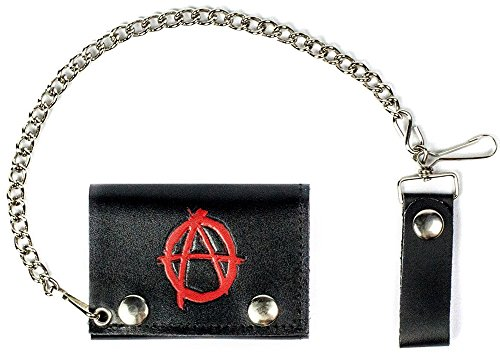 Anarchy Wallet (ANARCHY SIGN Mens Biker Leather Tri-fold Wallet with Chain)
