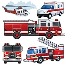 Fire Truck & Vehicle Wall Stickers Peel & Stick Large Wall Decals for Boys Room Decor