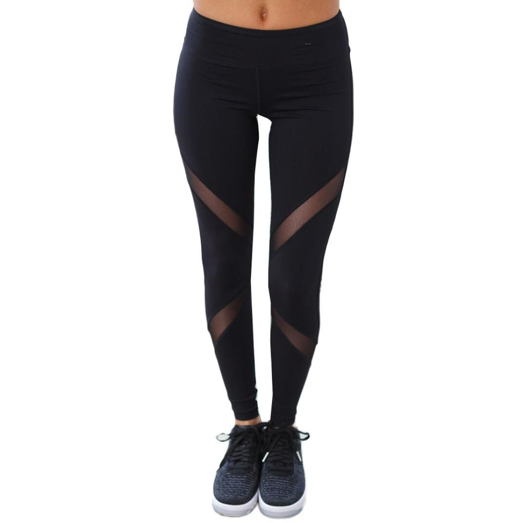 002bfd9035bef Napoo Women Mesh Patchwork Sheer Skinny Leggings Push Up Yoga Pants