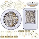 12 Pcs Binder Clips and 2 Pcs Bookmarker and 50 Pcs Paper Clips,Assorted Size Gold Clips with Storage Case Two Box