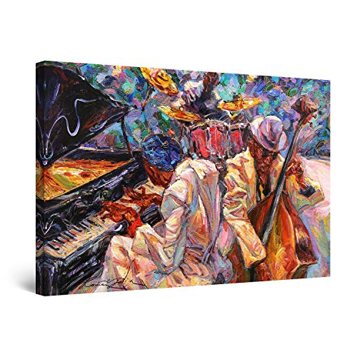 STARTONIGHT Canvas Wall Art Abstract - Orange Jazz Orchestra Music Painting - Artwork Print for Bedroom 24