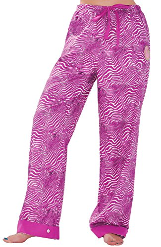 (Del Rossa Womens Flannel Pajama Pants, Flip Cuff Cotton Pj Bottoms, Small Pink and White Tiger Stripes (A0507N13SM))
