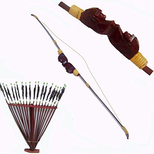 Kit Vitrine Schaufensterdekoration Deko Bogen-Pfeile Wanduhr-Holz-Ethnische Szenografie Indian-Handgeschnitzt + Flöte Bamboo + Vogelhaus Vögel Bamboo gratis