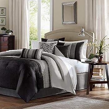77ff3bb8c68 Amazon.com  Madison Park Palmer 7 Piece Comforter Set Black Queen ...