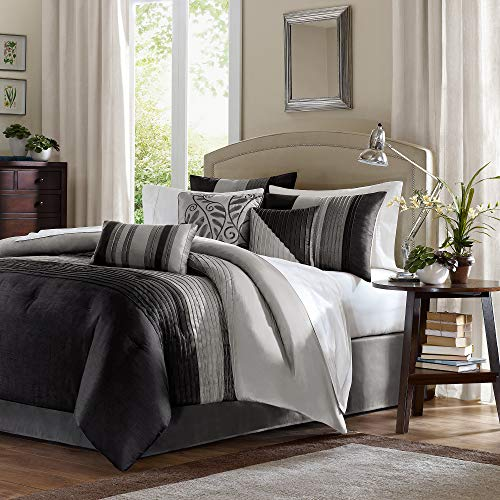 Salem 7 Piece Comforter Set - Black/Gray (California King)