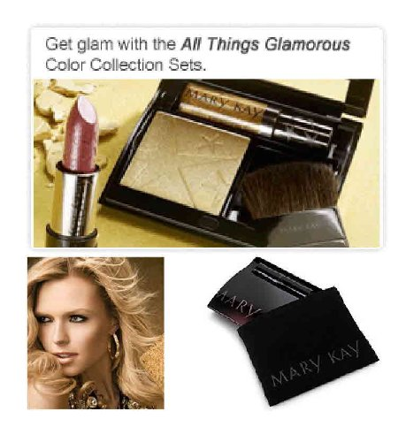 Mary Kay All Things Glamorous Gift Set ~ Canary Diamond Mineral Shimmer Powder ~ Creme Lipstick Couture Pink ~ Nourishine Plus Lip Gloss Gold Sequins ~ Black Magnetic Compact, Mineral Powder Brush & Compact Cover