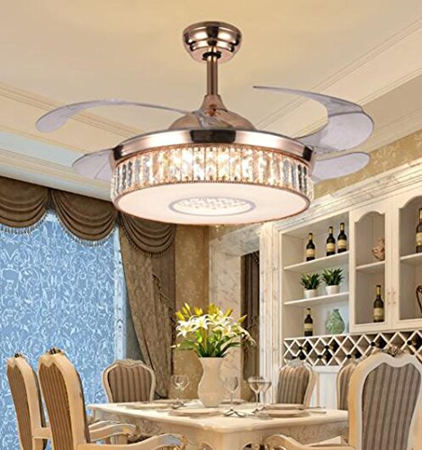Dimmable Retractable Crystal Ceiling Fan Light with Remote Control Three-color Change Fan Ceiling Chandelier Lighting Rose Gold 42 inch Style 3