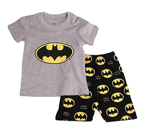Gray Bat Boys Shorts 2 Piece Pajama Set 100% Cotton G6057,Gray,2T -